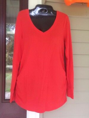 OLD NAVY Maternity Women' Long Sleeve Red V -Neck Thermal Shirt Sz. L