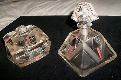 Intense Karl Palda Czech Art-Deco Modernist Glass Perfume Bottle + Powder Jar