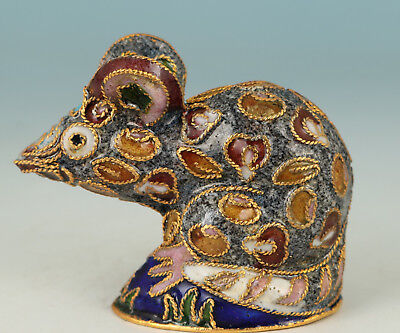 Chinese Cloisonne Handmade Carved Mouse Statue Figure