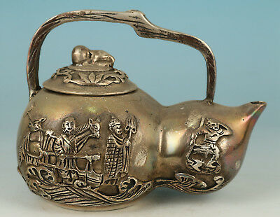 Chinese Old Copper Hand Carved Journey to the West Statue Tea Pot