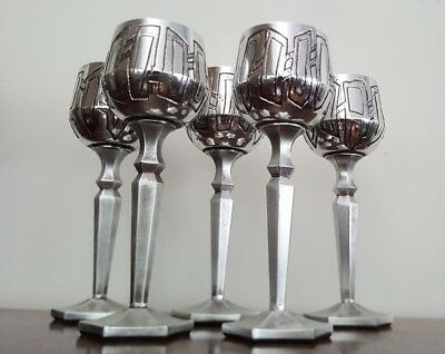 Don Sheil Set of Five (5) Large 24cm Goblets, unique individually signed, 1976
