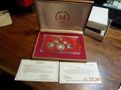 1975 Singapore 6-Coin Proof Set - Gem Cameos in Wooden Case with COA