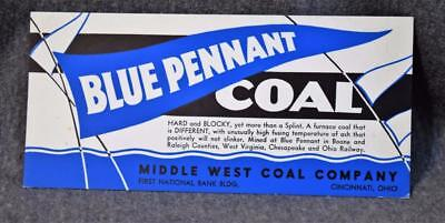 Vintage Blue Pennant Coal Middle West Coal Co. Cincinnati Ink Blotter