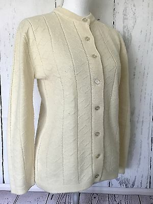 Vtg Sears Womens Cardigan 36 / M Ivory Button Front Sweater Wintuk Acrylic