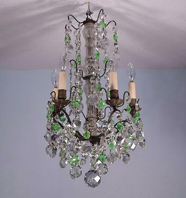 French Antique Bronze & Crystal/Uranium Glass Chandelier or Hanging Lamp