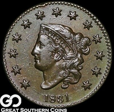 1831 Large Cent, Coronet Head, Tough Choice AU++ Early Date Copper!