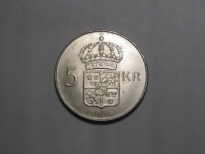 1954 Sweden 5-Kronor Silver Crown Coin. Very Nice Coin.  Unc.