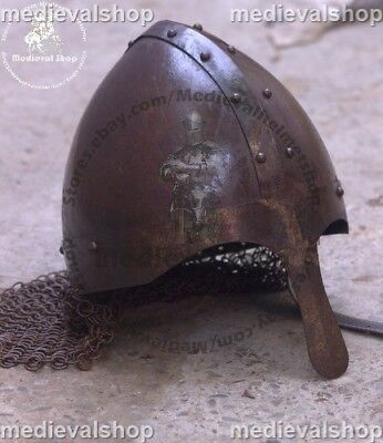 Medieval Armour Closed Viking Helmet With Chainmail Ms1214