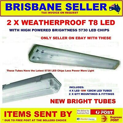 LED OUTDOOR WEATHERPROOF TWIN LIGHT FITTING T8 60cm 120CM INCLUDING TUBES