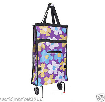 %H New Purple Dot Flower Pattern Two Wheel Collapsible Shopping Luggage Trolleys