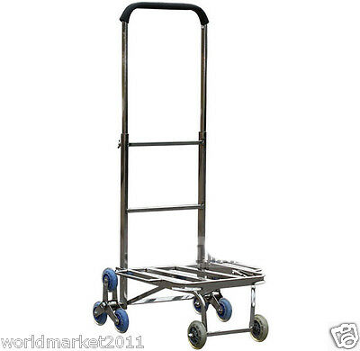 Stainless Steel Six Wheels Convenient Collapsible Shopping Luggage Trolleys