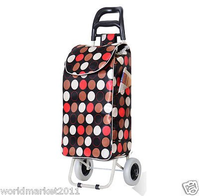 %H Convenient Round Pattern Two Wheels Collapsible Shopping Luggage Trolleys