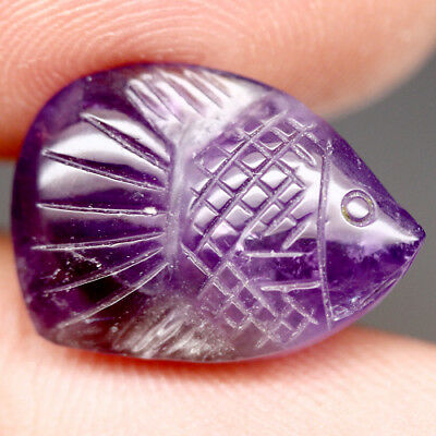 8.61 Ct Natural! Purple Clr Change To Pink Brazilian Amethyst Fish Carved
