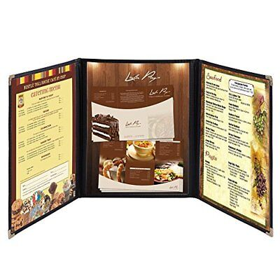 Hug Flight 30 Menu Cover 8.5X11 6 View Triple Fold Double Stitch Trim Cafe
