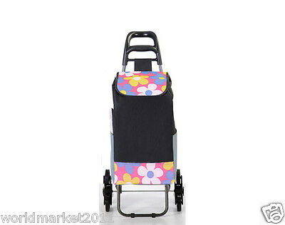 Convenient Flower Pattern Six-Tire Collapsible Shopping Luggage Trolleys