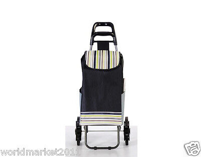 Convenient Stripe Pattern Six-Tire Collapsible Shopping Luggage Trolleys