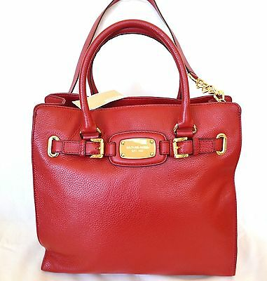 3efc51112 New Michae Kors Red Hamilton Large Genuine Leather Tote,purse,bag,crossbody