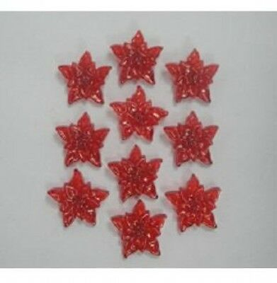 Christmas Shaped Diamante Jewels Poinsettias  Red - per pack of 10 (HC2015-11)