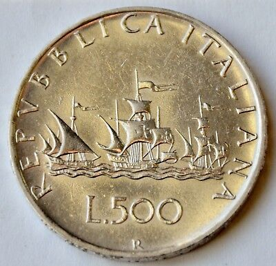 Italy 500 Lire, 1960, Christopher Columbus's ships, silver coin