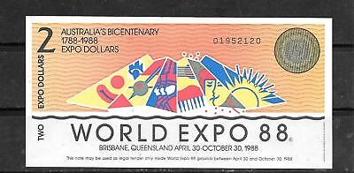 Australia Expo 1988 Au-Unused $2 Dollar Banknote Paper Money Currency Bill Note