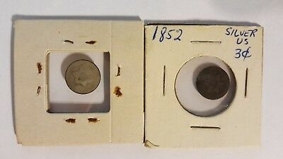 Two 1852 US silver 3 cent coins circulated