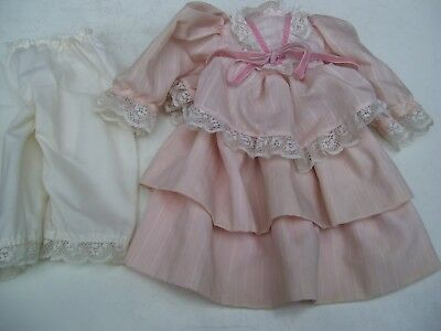 Alte Puppenkleidung Fine Pink Dress Outfit vintage Doll clothes 50 cm Girl