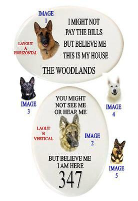 German Shepherd Oval House/warning Sign Name Or Number