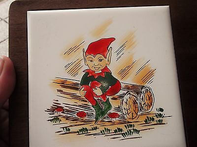Small Vintage Handpainted Tile On Wooden Backing Mount Board Bold Pixie On Logs