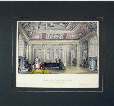 Old Antique Print 1840 Hand Coloured View Palace Luxembourg Paris 315B284