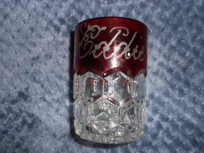 """Antique Vintage RUBY-STAINED DRINKING Glass etched  """"Eddie 1893"""""""