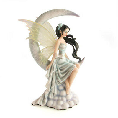 Moon Fairy in Silky White Slip with Flowing Dark Hair and Translucent Wings