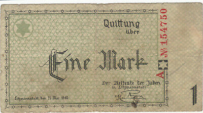 1940 1 Mark Poland Litzmannstadt Lodz Ghetto Currency Banknote Note Bill Wwii