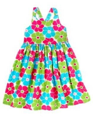 Gymboree Ice Cream Sweetie Dress Size 5 Blue Pink Flower Print Cotton Lined New