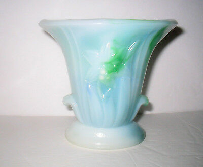 Blue & Green AKRO AGATE Slag Glass Urn Vase