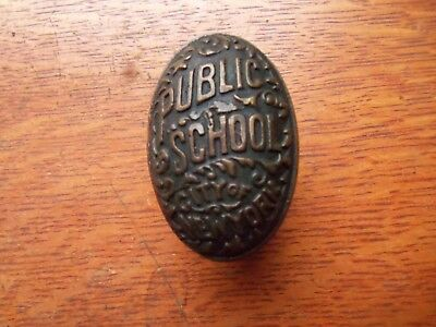Antique Brass Public School City of New York Doorknob Door Knob c1890