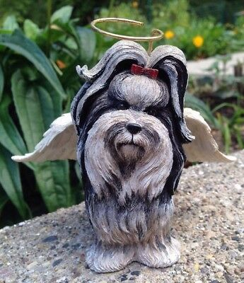 SHIH TZU Dog Angel Ornament Puppy Black/White Bradford Exchange RARE