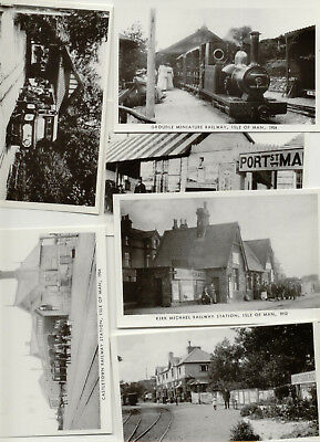 Set of 6 Isle of Man Reproduction Railway Postcards - Mannin Collections 1985