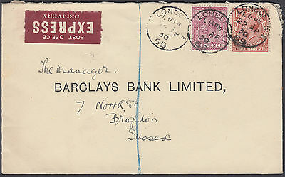 1930 KGV 6d+1 1/2d Post Office Express Delivery: Barclays Bank, Brighton, Sussex