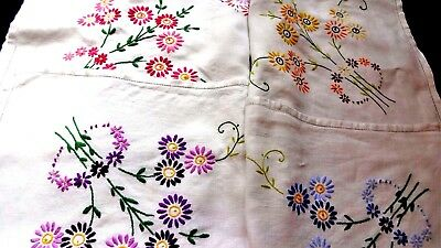 Vintage Hand Embroidered Linen Tablecloth- Beautiful Raised Embroidery