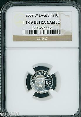 2002-W $10 PLATINUM EAGLE STATUE OF LIBERTY 1/10 Oz. NGC PR69 PROOF PF69 !!!