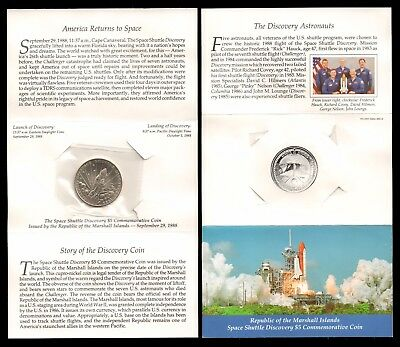 Marshall Islands 1988 $5 Space Shuttle Discovery Commemorative Coin Unc