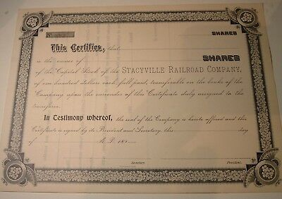 Antique Stock Certificate Stacyville Railroad ( Iowa )  1890s Unissed