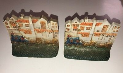 """ANTIQUE PAIR HEAVY CAST IRON  """"Stagecoach"""" BOOKENDS, COLD PAINTED ENAMEL"""