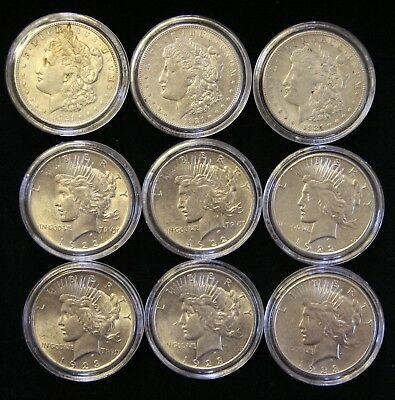 Nine (9) Nicer Morgan & Peace Silver Dollars: 1921-P/D/S, 1922-P/D/S, 1923-P/D/S