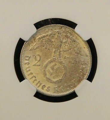 NGC MS-62 1937-A Nazi Germany Two Reichsmark Coin Swastika WWII High Grade!
