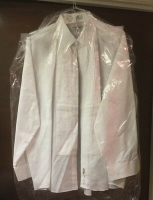 Sarno & Son Comfort Fit sz 2 XL 34/35 dry cleaned white pleated tuxedo shirt
