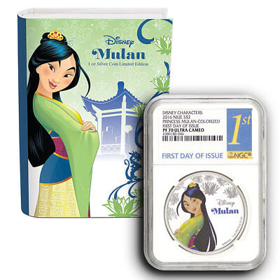 2016 Disney Princess Mulan NGC PF70 (First Day Of Issue) 1 oz Proof Silver Coin