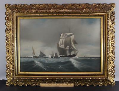 Large Antique 19thC Gouache Maritime Painting Sailing Ships, Gold Gilt Frame
