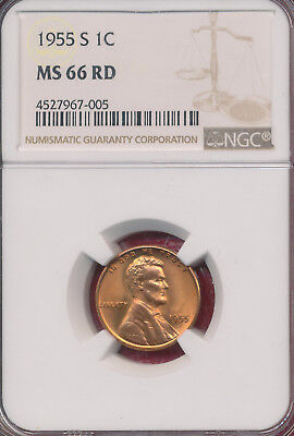 1955-S Lincoln Wheat Red Cent **ngc Certified Ms 66 Rd** Free Shipping!