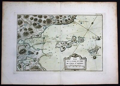 1764 Ile Saint Pierre aux Marins Miquelon Canada Bellin handcolored antique map